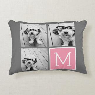 Trendy Instagram Photo Collage Custom Monogram Decorative Pillow