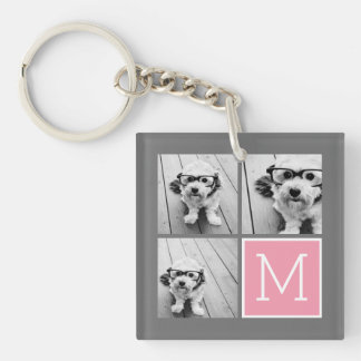 Trendy Instagram Photo Collage Custom Monogram Keychain