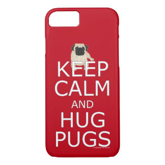 Trendy Keep Calm Hug Pugs iPhone 8/7 Case
