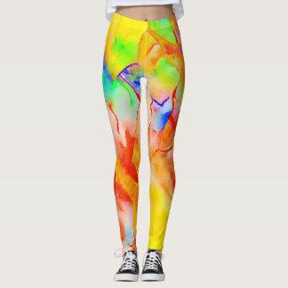 Trendy leggings in a vibrant watercolor pattern