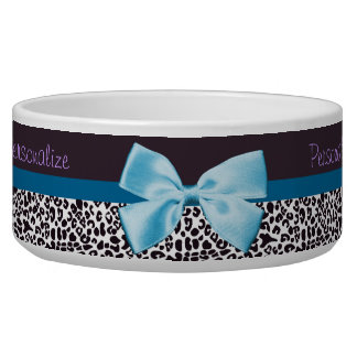 Trendy Leopard Print and Blue Ribbon With Name