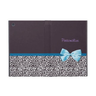 Trendy Leopard Print and Blue Ribbon With Name Cover For iPad Mini