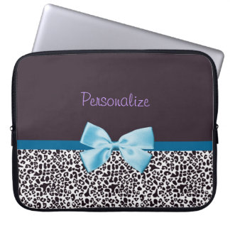 Trendy Leopard Print and Blue Ribbon With Name Laptop Sleeve