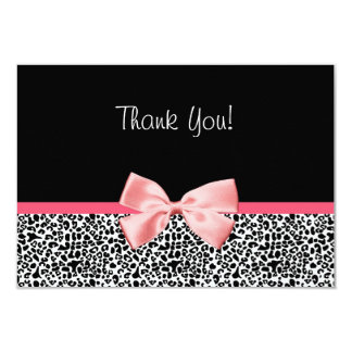 Trendy Leopard Print and Pink Ribbon Thank You Card