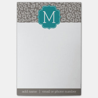 Trendy Leopard Print Pattern with Aqua Monogram Post-it® Notes