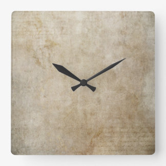 Trendy Light Brown Grunge Square Wall Clock