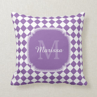 Trendy Light Purple Checked Monogrammed Name Throw Pillows