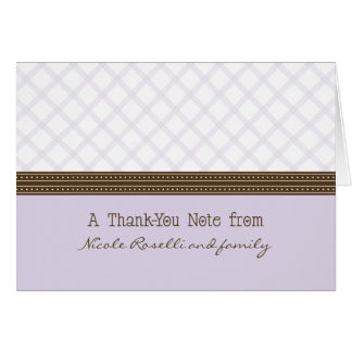 Trendy Lilac Plaid Photo (inside) Thank You Card