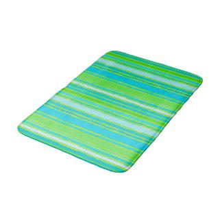 Trendy Lime Green Aqua Turquoise Stripes Pattern Bath Mat