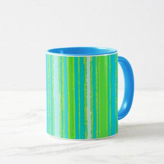 Trendy Lime Green Aqua Turquoise Stripes Pattern Mug