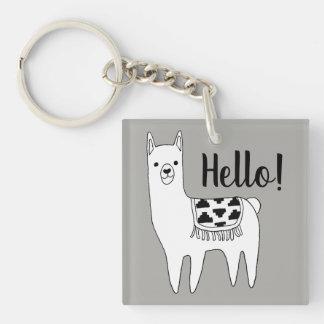 Trendy Llama Sketch Hello! Keychain