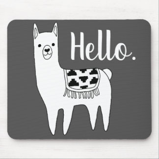 Trendy Llama Sketch Hello Mouse Pad