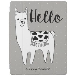 Trendy Llama Sketch & White Dots Hello iPad Cover