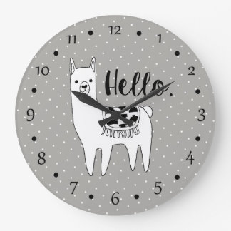 Trendy Llama Sketch & White Dots Hello Large Clock