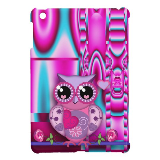 Trendy love owl on artistic abstract background iPad mini case