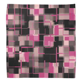 Trendy Magenta Black Pink Gray Abstract Pattern Bandana