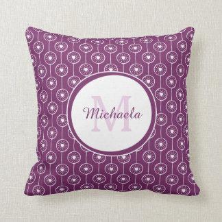 Trendy Magenta  Monogrammed Name Purple Heart Dots Throw Pillow