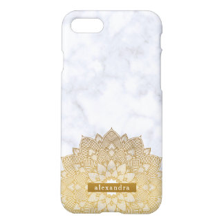 Trendy Marble and Gold Mandala Lace Pattern iPhone 8/7 Case