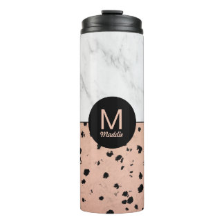 Trendy Marble and Rose Gold Pattern with Monogram Thermal Tumbler