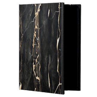 Trendy Marble Pattern Black Gold Gray iPad Air Cases