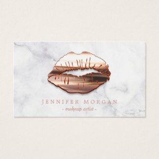 Business cards business card printing zazzle canada trendy marble rose gold 3d lips makeup artist business card reheart Image collections