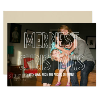 Trendy Merriest Christmas Overlay Photo Flat Card