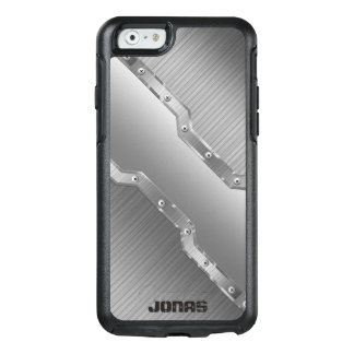 Trendy Metallic Silver Gray Brushed Metal Look OtterBox iPhone 6/6s Case