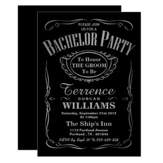 Trendy Metallic Silver Typography Bachelor Party Card