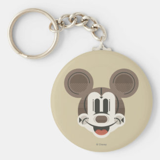 Trendy Mickey | Stylized Stripes Retro Head Basic Round Button Keychain
