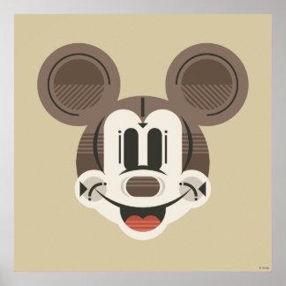 Trendy Mickey | Stylized Stripes Retro Head Poster