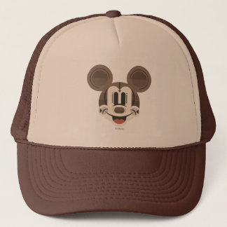 Trendy Mickey | Stylized Stripes Retro Head Trucker Hat