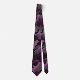 Trendy Military Dark Purple Camouflage Men's Tie