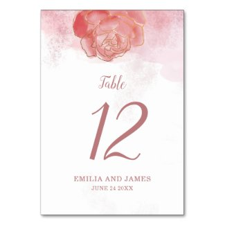 Trendy Millennial Pink Floral Table Number