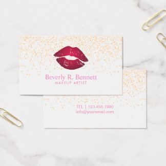 Trendy Minimalist Glitter Lip Business Card