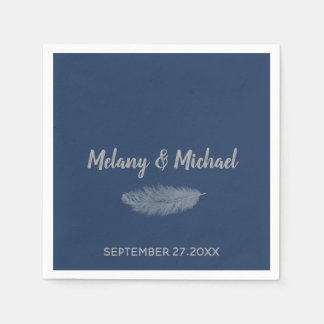 Trendy minimalist navy peony feather wedding disposable napkins
