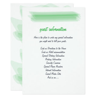 Trendy Minimalist Spring Green Wedding Insert Card