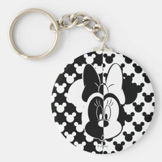 Trendy Minnie | Black & White Modern Basic Round Button Keychain