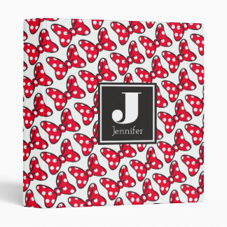 Trendy Minnie | Polka Dot Bow Monogram 3 Ring Binder