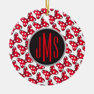 Trendy Minnie   Polka Dot Bow Monogram Ceramic Ornament