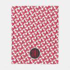 Trendy Minnie   Polka Dot Bow Monogram Fleece Blanket