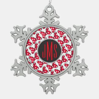 Trendy Minnie | Polka Dot Bow Monogram Snowflake Pewter Christmas Ornament