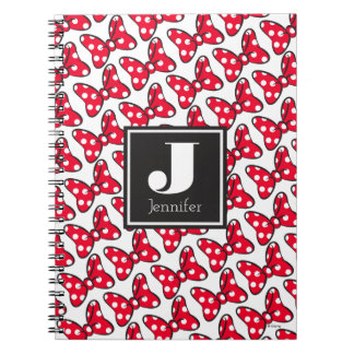 Trendy Minnie | Polka Dot Bow Monogram Spiral Notebooks