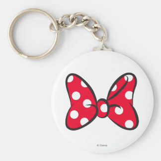 Trendy Minnie | Red Polka Dot Bow Basic Round Button Keychain