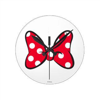 Trendy Minnie | Red Polka Dot Bow Round Clock