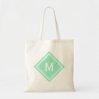 Trendy Mint  Diamond Monogram Tote Bag