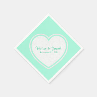 Trendy Mint Green and White Custom Wedding Napkin Paper Napkins