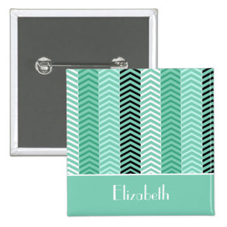 Trendy Mint Green Chevron Stripes With Name 2 Inch Square Button