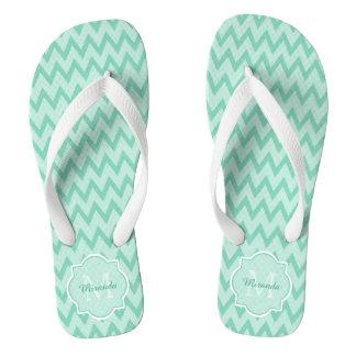 Trendy Mint Green Chevron Zigzag Name and Monogram Flip Flops