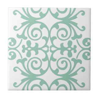 Trendy Mint Green Damask Pattern Ceramic Tiles