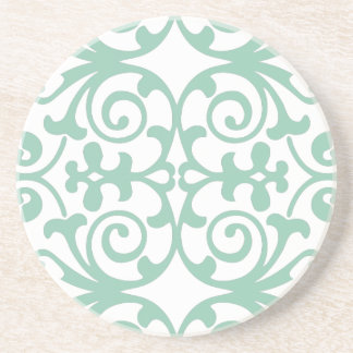 Trendy Mint Green Damask Pattern Coaster